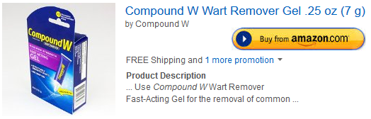 Compound W Wart Remover Gel at Amazon