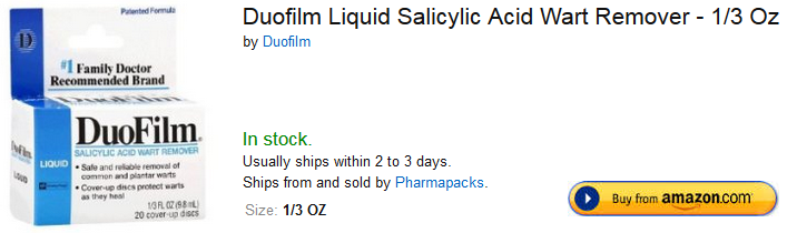 Duofilm Liquid Salicylic Acid Wart Remover at Amazon