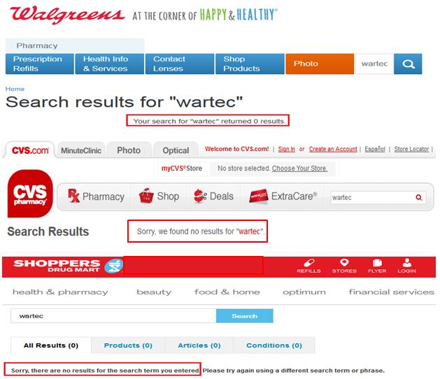 Wartec Walgreens CVS Canada