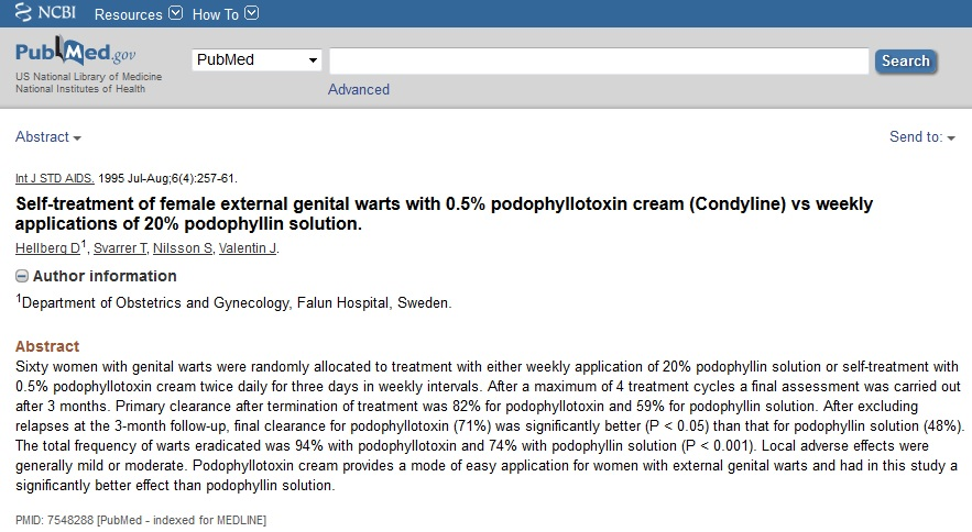 podophyllotoxin cream genital wart treatment