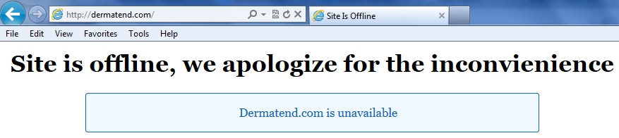 Dermatend dot com Site Offline