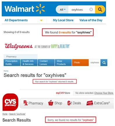 Oxyhives Walmart Walgreens CVS Boots UK