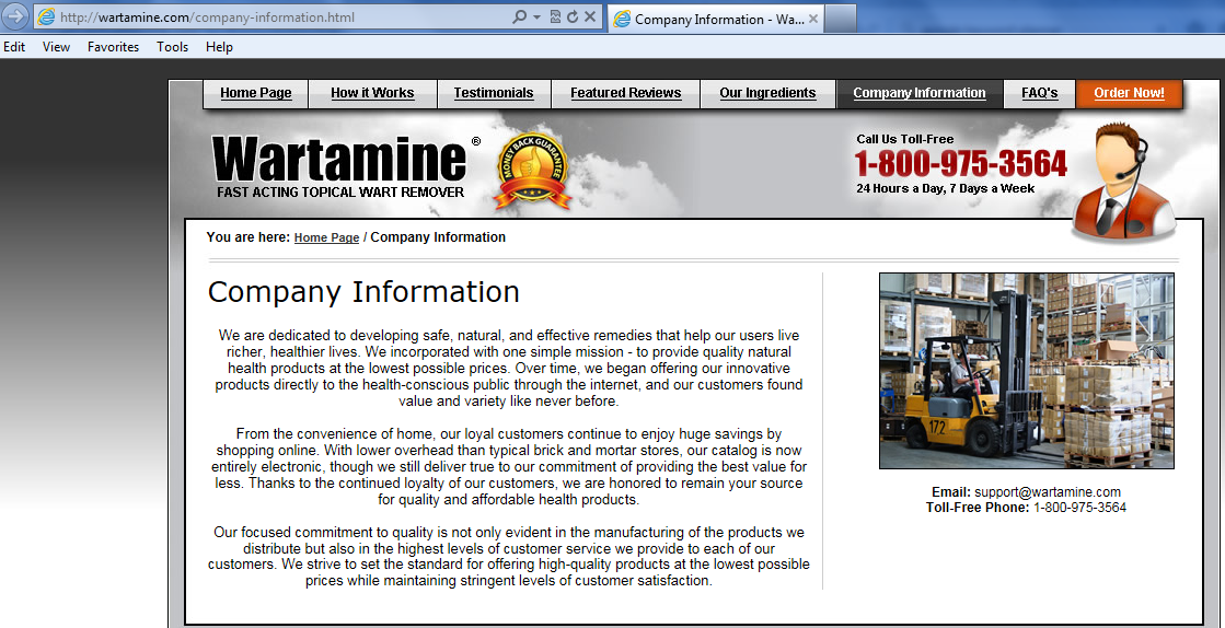 Wartamine Company Info on Website