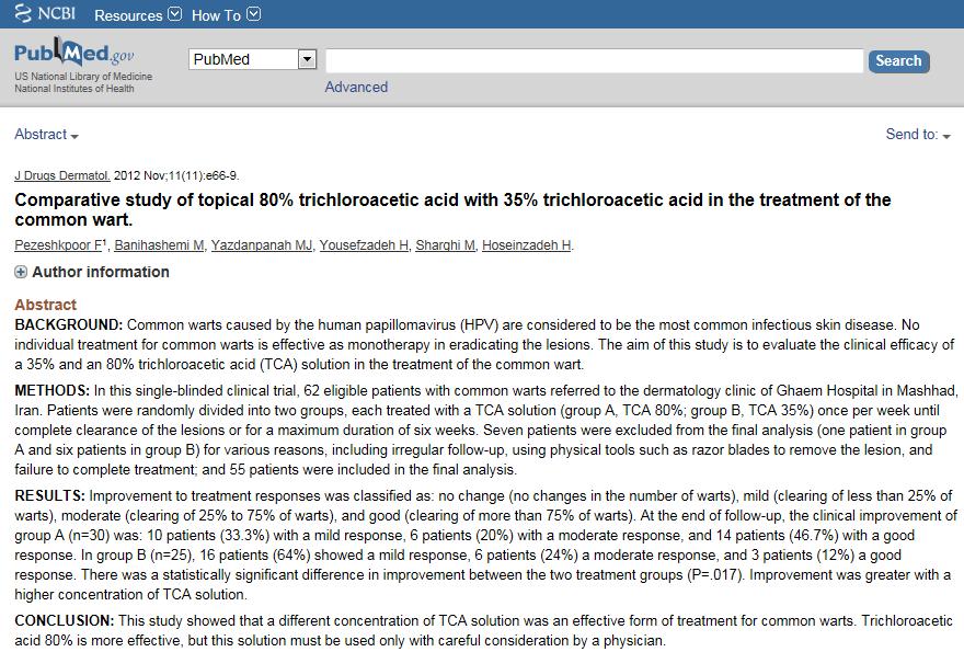 trichloroacetic acid wart removal TCA