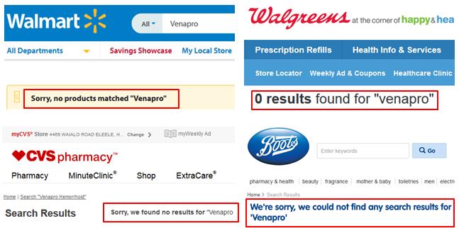 Venapro Walmart Walgreens CVS Where To Buy