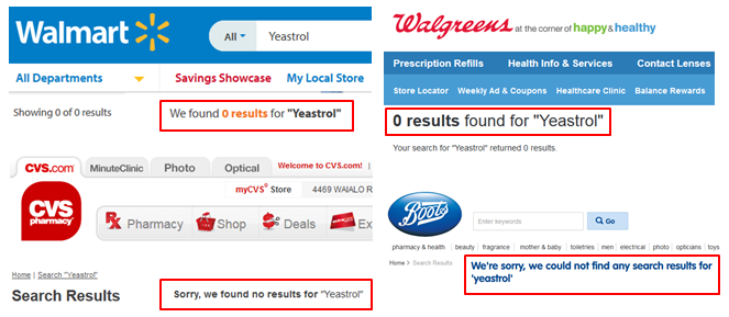 Yeastrol Walmart Walgreens CVS Boots UK